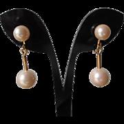 Simulated Pearl Clip Earrings Vintage 1960s Drop Dangle