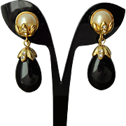 Teardrop Clip Earrings Vintage 1980s Black Faux Pearl Rhinestone Drop Dangle