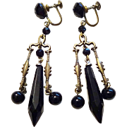 Vintage 1940s Black Jet Glass Chandelier Earrings Screwback