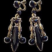 Vintage 1940s Black Jet Glass Chandelier Earrings Screwback