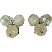 Vogue Clip Earrings Vintage 1950s White Clear Glass Beaded Bubblegum Beads