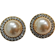 Vintage 1950s Faux Pearl Cabochon Rhinestone Round Clip Earrings