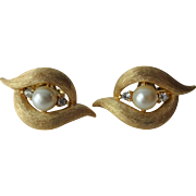 Crown Trifari Earrings Vintage 1950s Faux Pearl Rhinestone Gold Plated Pair