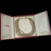 Majorica Faux Pearl Necklace Vintage 1950s Torsade Choker 12 Strand Presentation Box