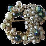 Original By Robert Brooch Vintage 1950s Emerald Green Faux Pearl Rhinestone Filigree Pin