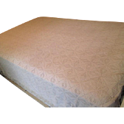 Ivory Hand Crocheted Bedspread Blanket Afghan Fringe Full Size Pristine Condition
