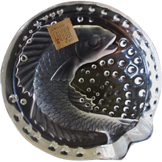 Lalique Crystal Concarneau Koi Fish Crystal Bowl