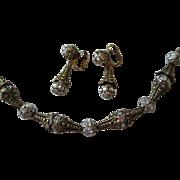 Art Deco Sandor Necklace Earrings Vintage 1940s Signed Rhinestone Jewelry Demi Parure Set