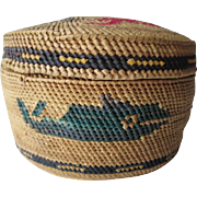 Tsimshian Native American Basket Vintage 1930s Pacific Northwest Whales Birds