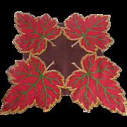 Vintage 1950s Fall Leaves Handkerchief Hanky Hankie Cotton Large