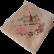 Vintage 1940s Hand Painted Silk Hanky Hankie Handkerchief WWII Era