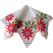 Christmas Handkerchief Vintage 1950s Poinsettia Holly Berries Bows Cotton