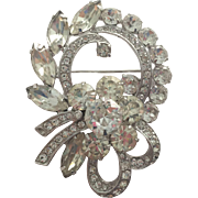 Eisenberg Ice Vintage 1940s Rhinestone Wreath Bow Brooch