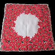 Vintage 1950s Christmas Poinsettia Handkerchief Hanky Hankie Cotton