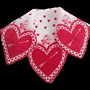 Valentine Hearts Arrows Handkerchief Vintage 1950s Cotton Hanky Hankie Novelty Holiday