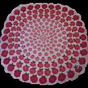Round Roses Handkerchief Vintage 1940s Hanky Hankie