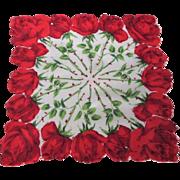 Rose Handkerchief Vintage 1950s Flower Floral Hanky Hankie