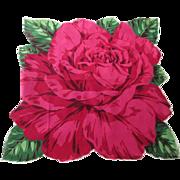 Large Rose Handkerchief Vintage 1950s Cotton Hanky Hankie