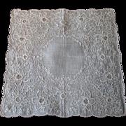 Lavish Vintage 1930s Handkerchief Hand Embroidered Chinese Linen Hanky Hankie