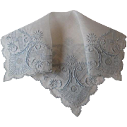 Vintage Weding Handkerchief Appenzell Style Embroidery Blue Net Lace Amazing Details