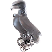 Patriotic Lalique Liberty Eagle Vintage 1970s Lead Crystal Figurine Statue Clear Frosted NWT Signed