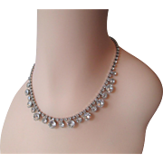 Weiss Rhinestone Choker Necklace Vintage 1950s Sparkling Glass Crystal Silver Plated