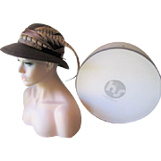 Fabiani Fall Pheasant Feather Fedora Hat Vintage 1970s Never Worn NWT Original Hatbox Hovland Swanson Designer