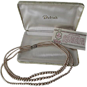 Deltah Simulated Pearl Necklace Three Strand Vintage 1950s Presentation Box Paperwork
