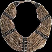 Egyptian Revival Bib Statement Necklace Vintage 1970s Gold Black Sead Bugle Beads 30 Strand Brass