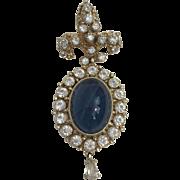 Hobe Brooch Vintage 1960s Blue Cabochon Rhinestone Pin