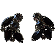 Weiss Clip Earrings Vintage 1950s Black Diamond Smoky Quartz