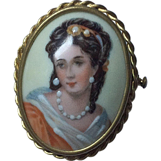 Limoges Hand Painted Portrait Pin Brooch Brunette Trombone Clasp Oval