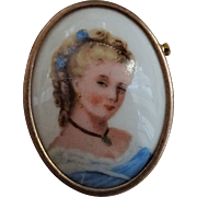 Limoges France Signed Porcelain Cameo Brooch