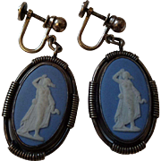 Sterling Wedgwood Cameo Earrings Vintage 1950s Jasperware Goddess Hebe Youth Young Bride Forgiveness Spring