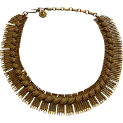 Lisner Egyptian Revival Choker Collar Necklace Vintage 1950s Cleopatra Signed Designer Jewelry