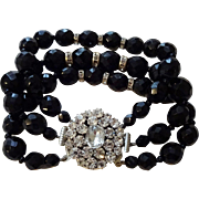 Vintage 1950s Bracelet Black Jet Glass Rhinestone Beaded Three Strand