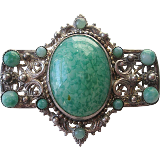 Art Deco Brooch Vintage 1920s Mottled Green Czech Art Glass Hubbel Beads Faux Turquoise Signed