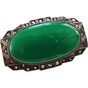 Art Deco Sterling Chryopase Marcasite Brooch Vintage 1940s Translucent Green Pin