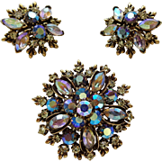 Vintage 1950s Aurora Borealis Brooch Earrings Set