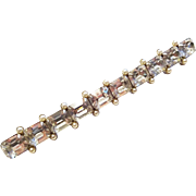 Vintage 1940s Large Rhinestone Bar Pin Faux Pearl Brooch