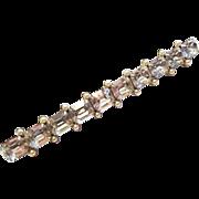 Vintage 1940s Large Rhinestone Bar Pin Faux Pearl Brooch