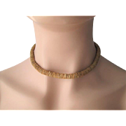 Miriam Haskell Choker Necklace Vintage 1950s Gold Plated Snake Chain Signed
