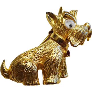 Scottie Scotty Dog Brooch Vintage 1960s P and M Paris Signed Pin