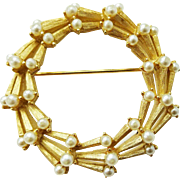 Crown Trifari Faux Pearl Wreath Brooch Vintage 1960s Signed Jewelry Pin