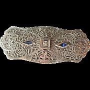 10k White Gold Filigree Pin Brooch Vintage 1940s Art Deco Diamond Sapphire