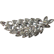 Vintage 1950s Large Rhinestone Leaf Pin Brooch