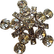 Vintage 1950s Rhinestone Snowflake Pin Brooch