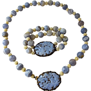 Rare Sterling Lavender Jade Necklace Bracelet Set Vintage 1930s Carved Jadeite Art Nouveau Jewelry