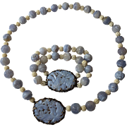 Rare Art Deco Sterling Silver SS Blue Lace Agate Necklace Bracelet Set Vintage 1930s Carved Phoenix Chinese Jewelry