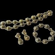 Art Deco Demi Parure Jewelry Set Vintage 1940s Damascene Moorish Arabesque Necklace Bracelet Dangle Earrings - Red Tag Sale Item